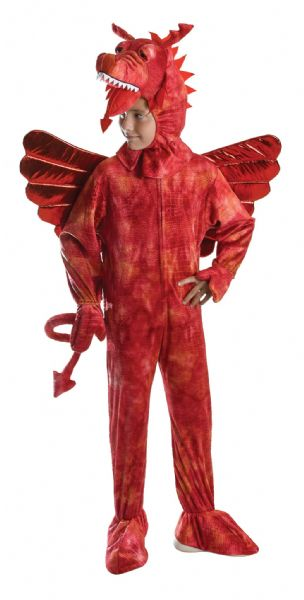 Boys Red Dragon Costume Welsh Wales Animal St George Fancy Dress Outfit
